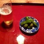 うろん江口 - 2015.10夜ビールとお突き出しのしょうゆ枝豆