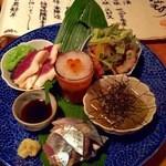うろん江口 - 2015.10色々5種盛り鴨の生ハム、おろしイクラ、秋刀魚のお造り、焼きナス