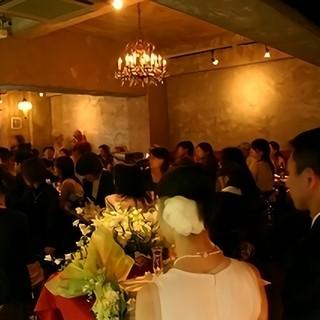 上質な空間で同窓会や結婚式の二次会などの貸し切りが可能