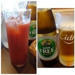 ビストロシュン - ◆主人は「ノンアルコールビール」、私は「カシスオレンジ」を。