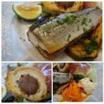 ビストロシュン - コンフィされた秋刀魚は脂がのっていて美味しい。       「バケット」には「秋刀魚のワタペースト」が塗られ程よい苦みがいいですね。       生野菜やマリネしたお野菜などがタップリ盛られています。