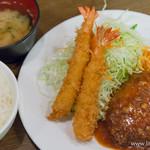 キッチン大正軒 - 組合せ定食 煮込みハンバーグ・エビフライ【2015年10月】