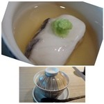 42847639 - 鰆の蒸し鮨・・鰆は美味しいですね。優しいお味のお出汁ですので、鰆のお味を邪魔しません。