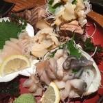 北海道まるごとダイニングうまいっしょ - 貝類のお造りにつぶ貝追加!
