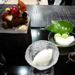 星のや 京都 ダイニング - 水菓子 季節のタルト、果物、アイスクリーム