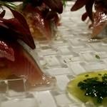 プリンチピオ - 秋刀魚のカルパッチョ、赤玉葱とウイキョウ、クスクスのインサラータ