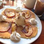 42897773 - キャラメルアップルパンケーキとアイスコーヒー