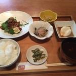 42902423 - 本日の魚料理(カジキ鮪竜田揚げ)