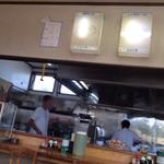 えぞっ子ラーメン - 厨房と、色褪せて良く見えないアクリル電照メニュー。( ^^;