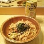 くいしんぼ如月 - 焼きうどん360円 別途購入の缶チューハイ