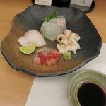 口福料理 なかもと - お造り:真子鰈、石垣貝、真魚鰹、島牡丹海老2