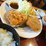かつ波奈 - 五島牛&五島美豚ハーフロースかつ定食(フェアー商品)