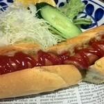 食堂カフェ COCO家 - ホットドッグ サラダ +300円 大きなホットドッグだわ!美味しい♪\(^_^)/