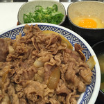 吉野家 - ねぎ玉牛丼。ネギは別盛りなのね。