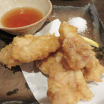 飯処 とみむら - 大分とり天。天ぷらというほど衣の量が少なく、唐揚げに近い位、香ばしく揚げられていて美味しいです。