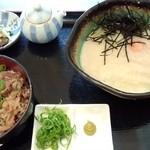 瀬戸内製麺710 - 山かけ生醤油&牛めしセット(H27.10.9)