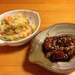 42952351 - 薩摩芋のポテサラ,魚の甘酢揚げ