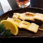 お食事処 燦 - マンボウの腸の串焼き。珍味だけど美味