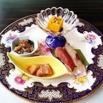 彩懐石 東浦和高砂 - 見沼の膳。前菜盛り合わせ