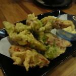 や~じぐゎ~ - チーズちくわとアーサの天ぷら