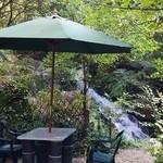 薬膳茶ソイビーンフラワー atきらら - テラス席のすぐそばは滝
