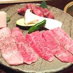 43003577 - 焼肉壱番(1,350円)のお肉                       和牛カルビとゲタカルビ