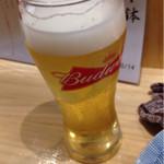小江戸 - 樽生バドワイザー。一口頂いた後です