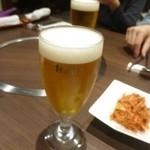 宙 SORA 韓国家庭料理&焼肉 - 先ずは生ビール