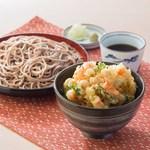 そば処 吉野家 - 料理写真:海老と貝柱の天丼とそばセット
