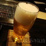 薩摩 牛黒亭 - エビスビール生(中)