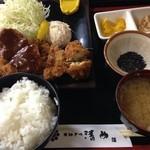 とんかつ清竹 - 料理写真:カツ盛合わせ定食(ヒレ・チキン・メンチ・ホタテ)800円