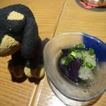 九州黒太鼓 - お通し(茄子の煮びたし)