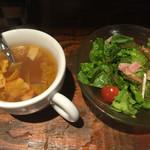 43241964 - ランチに付くサラダとスープ