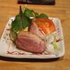 手打蕎麦 まるやま - 料理写真:お通し (鴨の燻製) (2015/09)