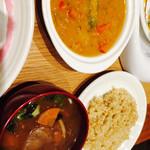 キュイジーヌ・エ・サンテ・リマ - ディナー 本日のメニュー カボチャのスープにお味噌汁追加