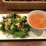 ビストロ フクモト - 前菜 サラダとコンソメ卵スープ(ランチ)       2015/10