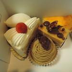 43255691 - (時計回りに)チーズケーキ、スカッチ、モンブラン、ショートケーキ、クラシックショコラ