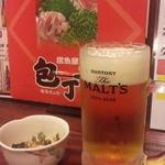 包丁や - 料理写真:生ビールはモルツ450円とお通し250円
