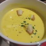 CafeXando - スープはカボチャのポタージュスープ、ハロウインが近いのでカボチャを利用したスープでした。