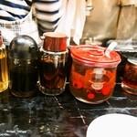 ひょうたん - タレ(酢、醤油、ニンニク醤油、味噌ダレ、辣油)