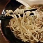 醤道 - 麺リフト!平べったい長方形の麺で固めの麺パツパツとした歯切れのいい食感で個性的 腹ペコは苦手かも...( ̄▽ ̄;)