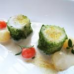 モダンフレンチ 「コラージュ」 - 真鱈のペルシヤード 具だくさんのスープ仕立て