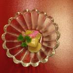 43289486 - 先付け 焼き茄子ゼリー寄せ なた豆の花 酢味噌掛け