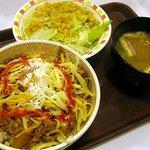 すき家 - 3種のチーズ牛丼(並)+1辛+サラダセット、ちょうど500円!