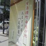 玉英堂 彦九郎 - 甘酒屋跡の表示