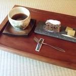 珈道庵 三瀬山荘 - コーヒーとお菓子のセットです。