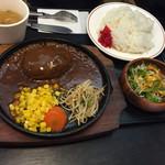 和風レストラン 魚勝 - 2015年10月中旬  『手作りハンバーグセット ¥842』スープか、ウーロン茶が選択出来ます。スープを注文。ライスは、大盛に出来ます。