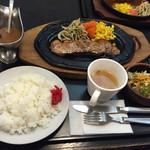 和風レストラン 魚勝 - 2015年10月中旬  ジューシー祭りの『ステーキセット  ¥1.058』です。ボリュームのあるセットです。