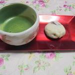 二葉軒 - 恵那饅頭と抹茶