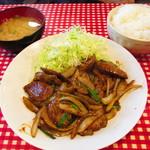 キッチン男の晩ごはん - 定番定食レバー
